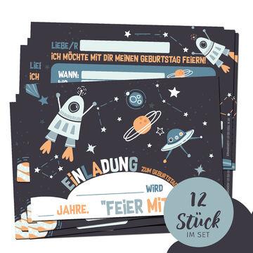 12 Kindergeburtstag Einladungskarten Astronaut Geburtstagseinladungen Space