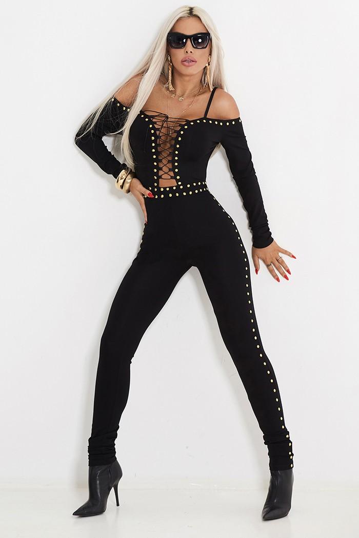 Alina c522 Einteiler Overall By Damen S Catsuit Sexy Jumpsuit 36 Schwarz 1xvndwq