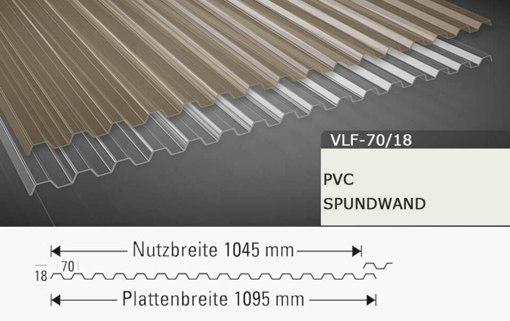 Breite 1095 mm Lichtplatte Material PVC Profil 70//18 St/ärke 1,4 mm Spundwandplatte Farbe Bronze