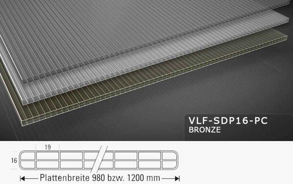 St/ärke 16 mm Farbe Bronze Breite 1200 mm Stegplatte Hohlkammerplatte Doppelstegplatte Material Acrylglas