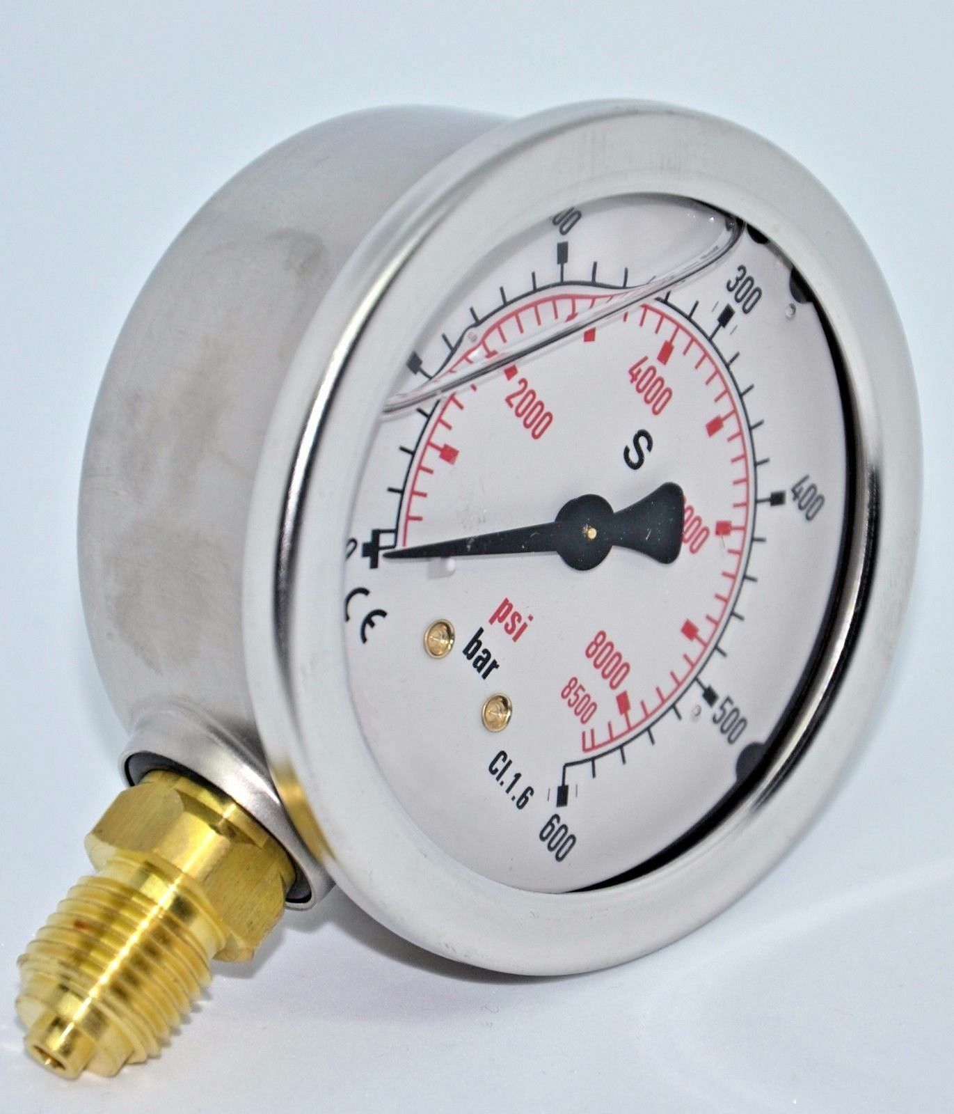 "Ø 63 mm glicerina manómetro perpendicular 1//4/"" AG KL 1,6 área de impresión 0-100bar"