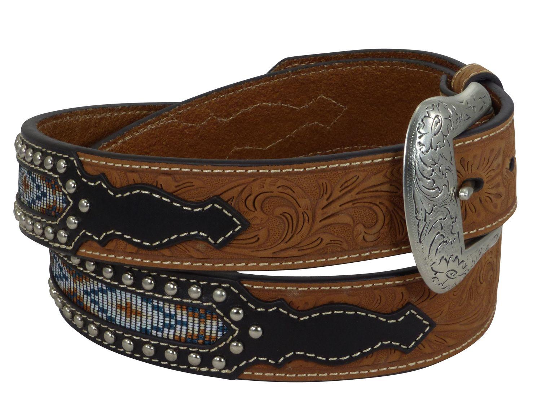 Nocona USA Western Gürtel floral tooled Cowboy Cowgirl Braun
