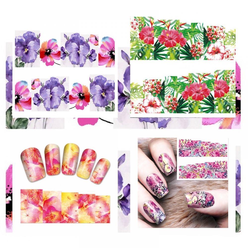 Nail Art Sticker - Nailart Blumen Hibiskus Leo Nagelsticker Tattoo ...