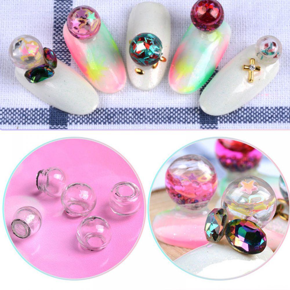 Nail Art Overlay Ball - 2x Hohlglas Ball Glitter Blase 3D Einleger ...