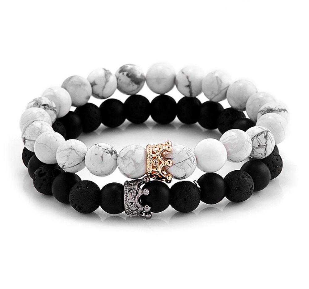 beste Angebote für bester Preis Ausverkauf Details zu Partner Armband - King Queen Anhänger SET Perle Krone Marmor  Optik Stein #H1