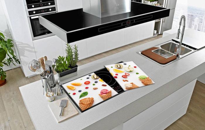Ceranfeldabdeckung 2x40x52 cm Gemüse Bunt Herdabdeckplatten Spritzschutz Glas