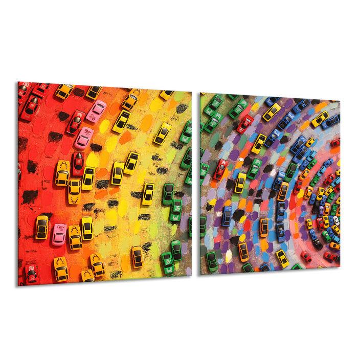 Herdabdeckplatte Ceran 2-teilig 2x30x52 Blumen Bunt Abdeckung Glas Spritzschutz