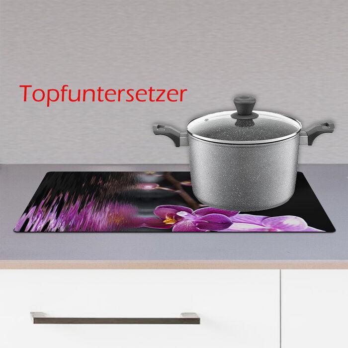 Ceranfeldabdeckung Herdabdeckplatten Spritzschutz Glas Orchidee 2x30x52 cm
