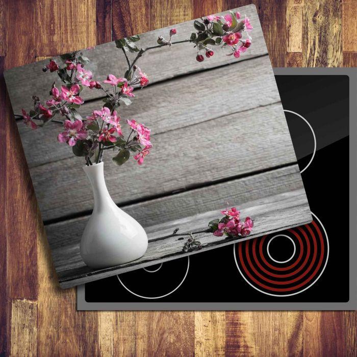 Ceranfeldabdeckung Herdabdeckplatten Spritzschutz Glas Blume 60x52 cm