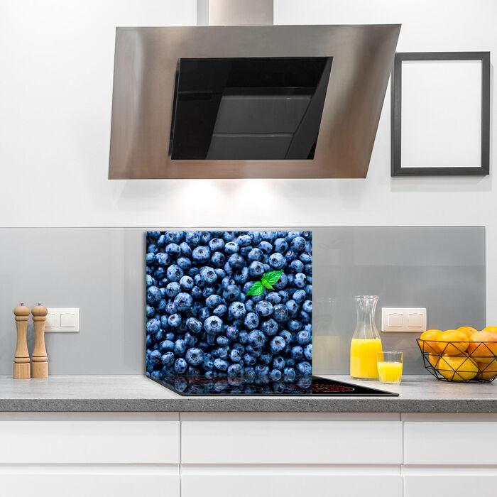Herdabdeckplatte Ceran 1 teilig 60x52 Obst Blau Abdeckung Glas Spritzschutz Deko