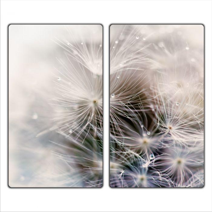 Glas-Herdabdeckplatte Ceranfeldabdeckung Zweiteilig 2x30x52 Pusteblume Holz