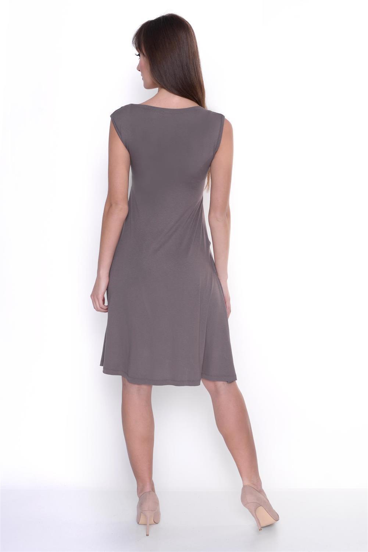 Kleid-A-Linie-MAMA-Knielang-mit-Raffungen-mit-Taschen-V-Ausschnitt Indexbild 23