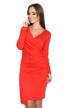 3979e5f67fb Damen Wickelkleid Langarm Kleid Dress Raffungen V-Ausschnitt Cocktailkleid  Abendkleid Gr. 36 38 40 42
