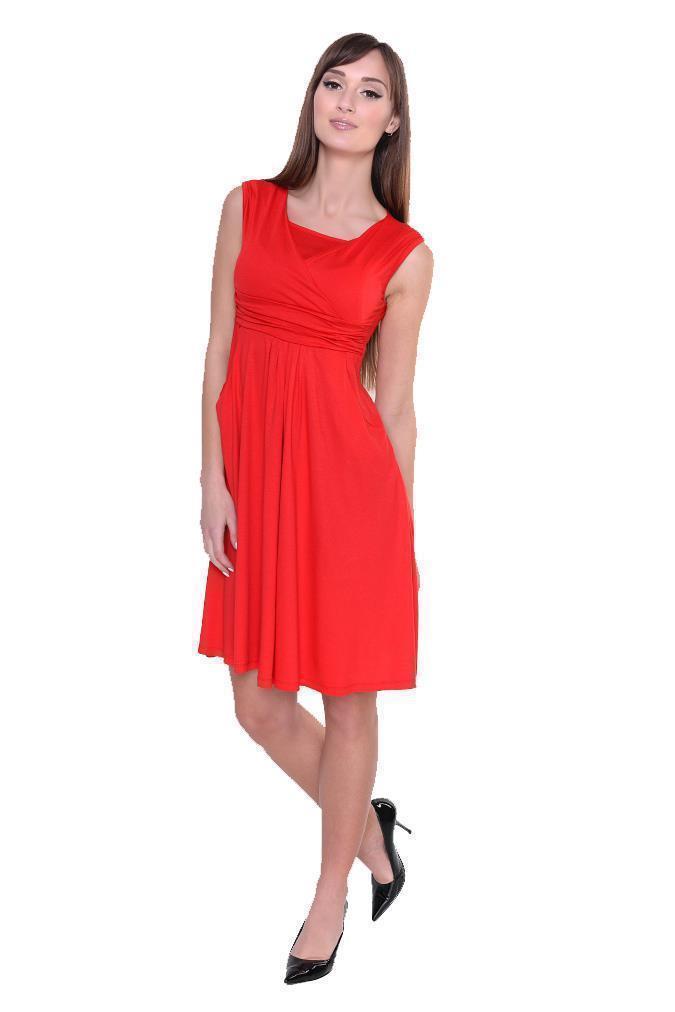 Kleid-A-Linie-MAMA-Knielang-mit-Raffungen-mit-Taschen-V-Ausschnitt Indexbild 36