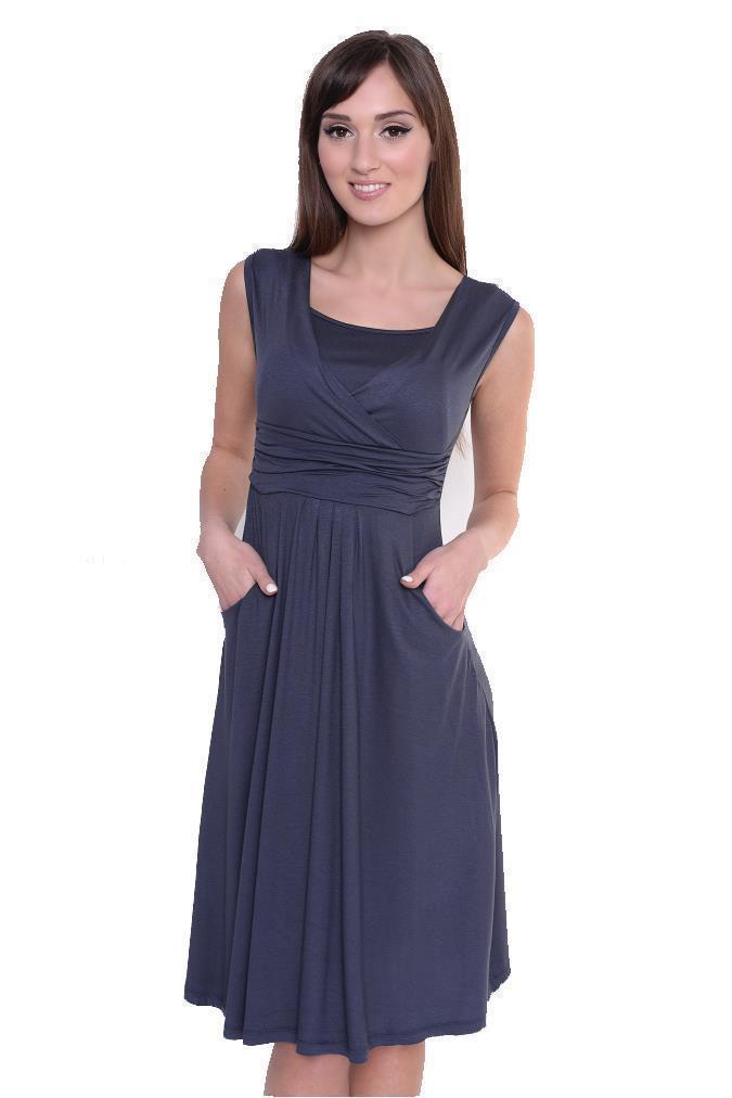 Kleid-A-Linie-MAMA-Knielang-mit-Raffungen-mit-Taschen-V-Ausschnitt Indexbild 40