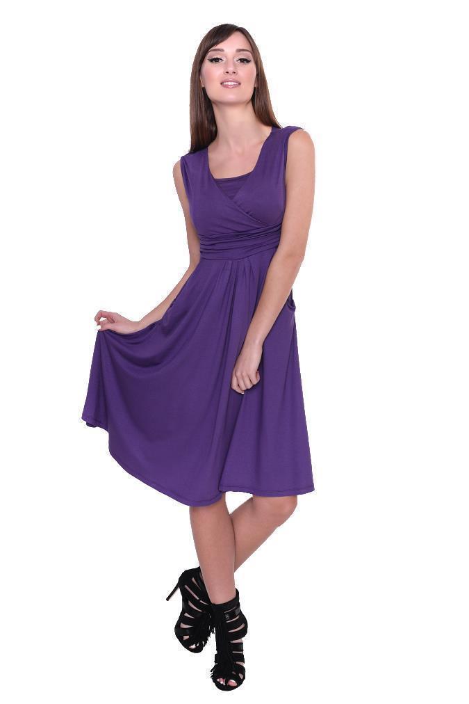 Kleid-A-Linie-MAMA-Knielang-mit-Raffungen-mit-Taschen-V-Ausschnitt Indexbild 16