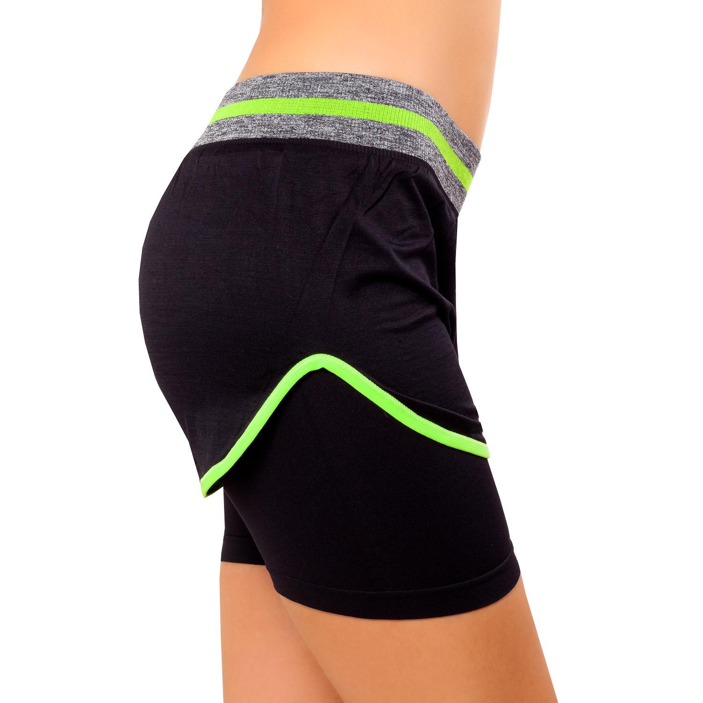 Damen Sport Shorts Funktionstights Laufhose Gym Sportkombi Zweiteiler 34-36-38