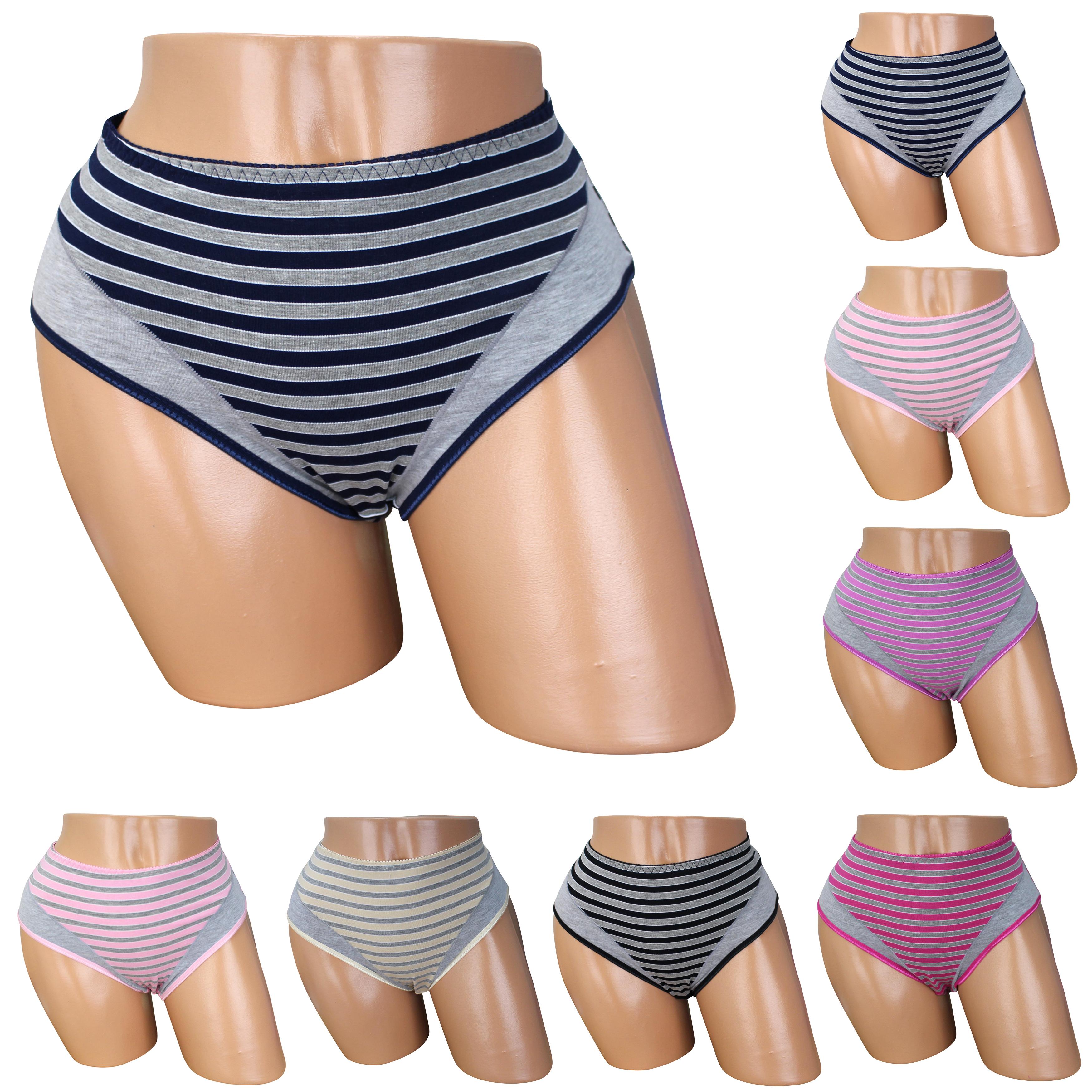 8-Damen-BAUMWOLLE-Taillen-Slips-Unterwaesche-Unterhose-Taillenslips-Schluepfer