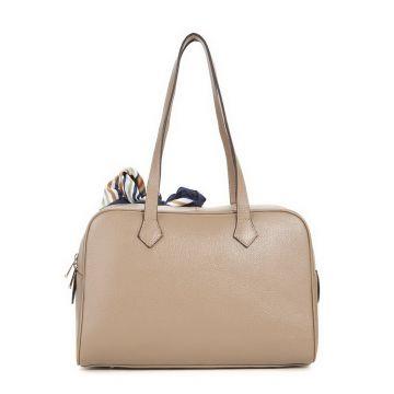 acf1cb1a599a0 Damen Tasche Schultertasche Handtasche Lederspäne Tasche Tuch Beige lange  Griffe