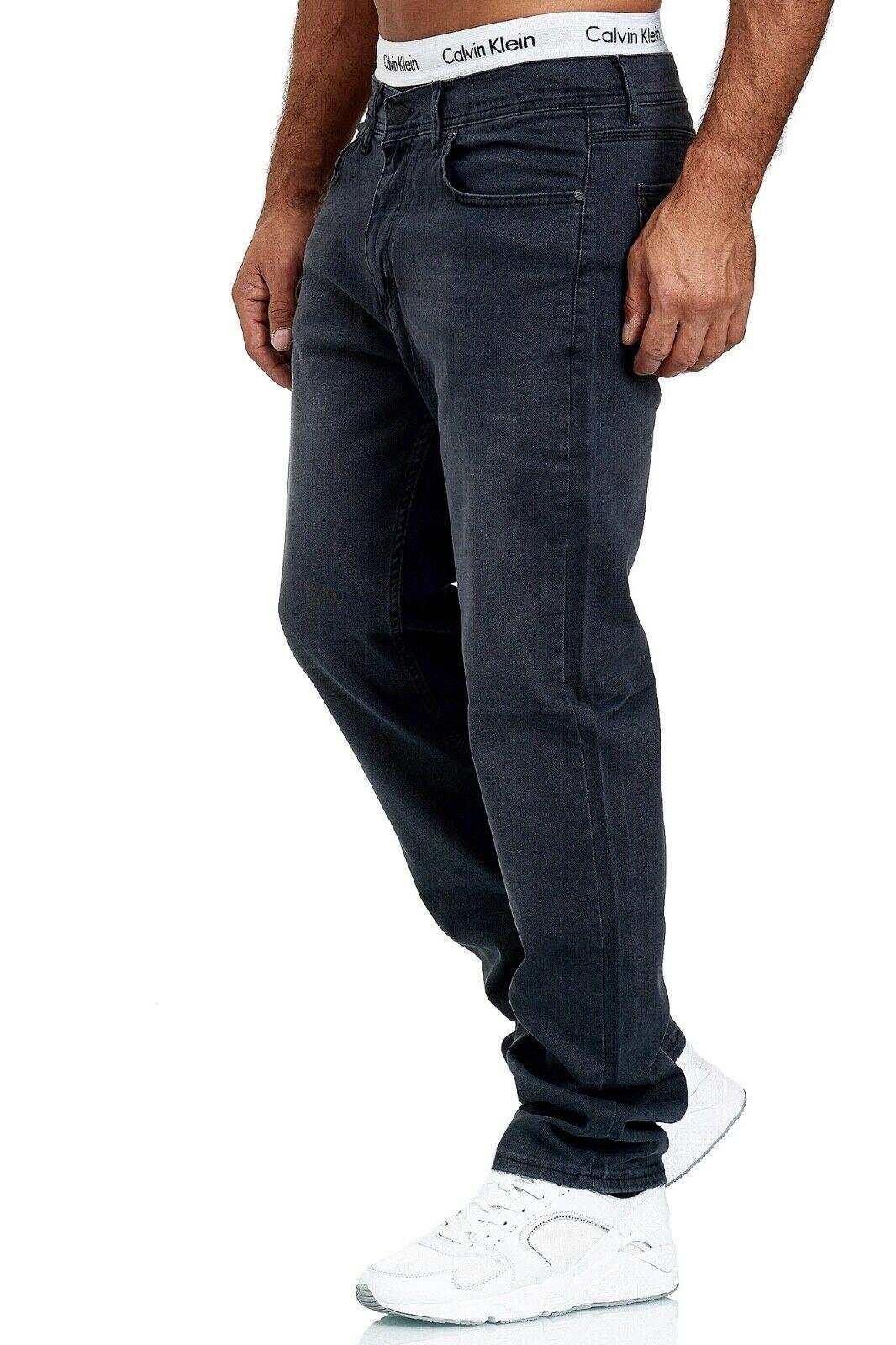 Herren-Jeans-Hose-Denim-KC-Black-Washed-Straight-Cut-Regular-Dicke-Naht-naehte Indexbild 82