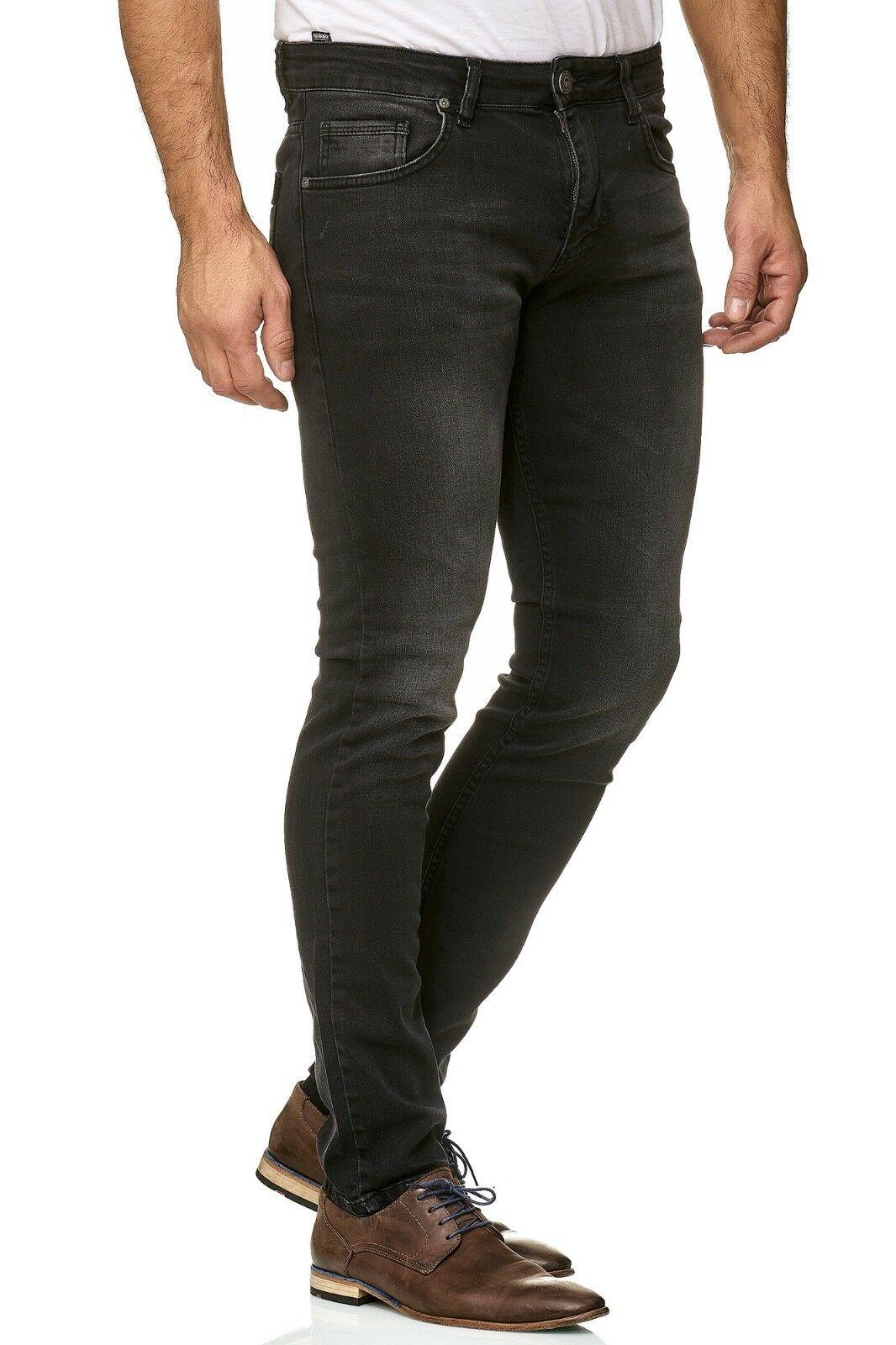 Herren-Jeanshosen-Stretch-Hose-Slim-fit-SKINNY-Jeans-Blau-Schwarz-Grau-Weiss Indexbild 50