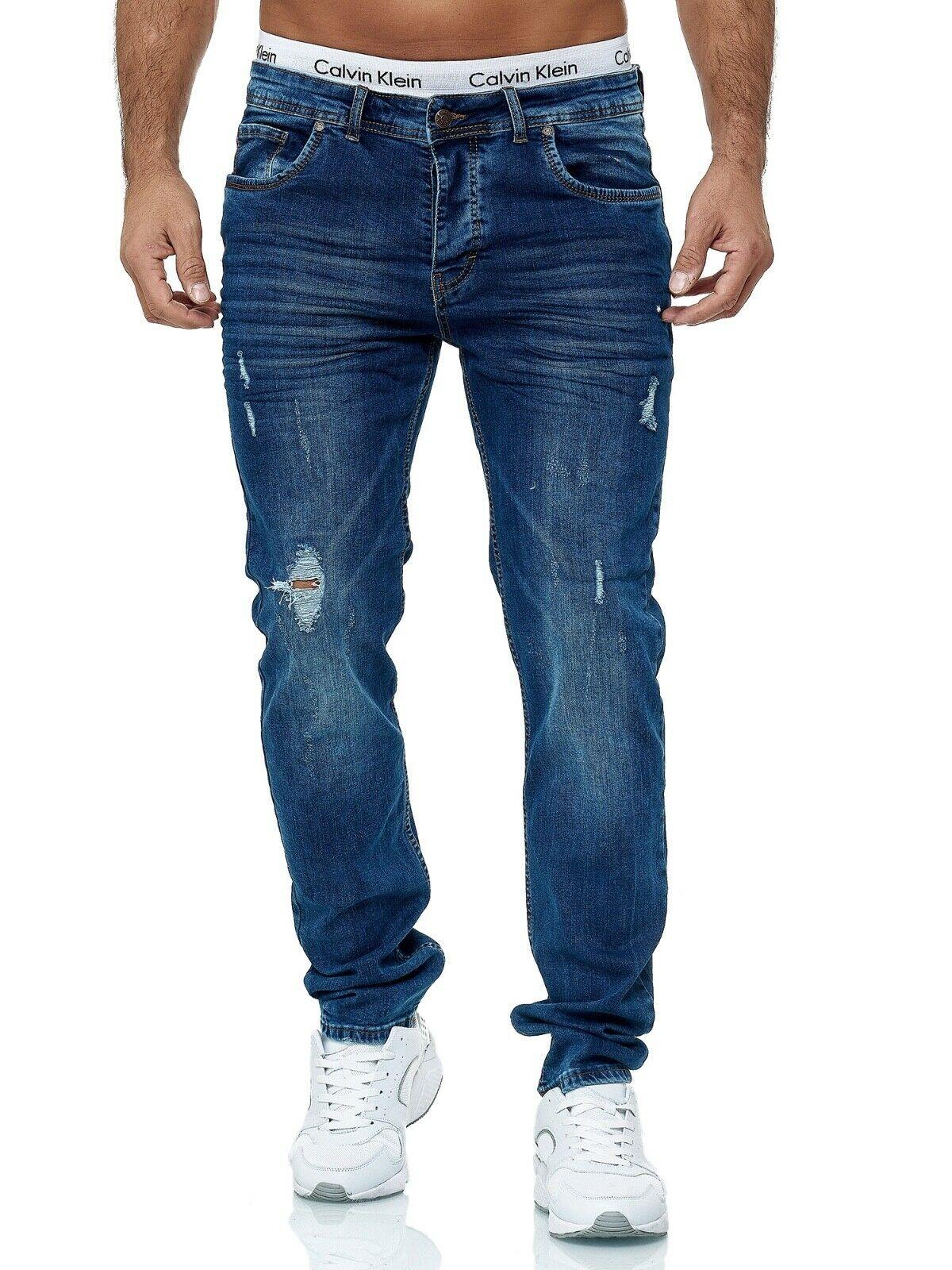 Herren-Jeanshosen-Stretch-Hose-Slim-fit-SKINNY-Jeans-Blau-Schwarz-Grau-Weiss Indexbild 74