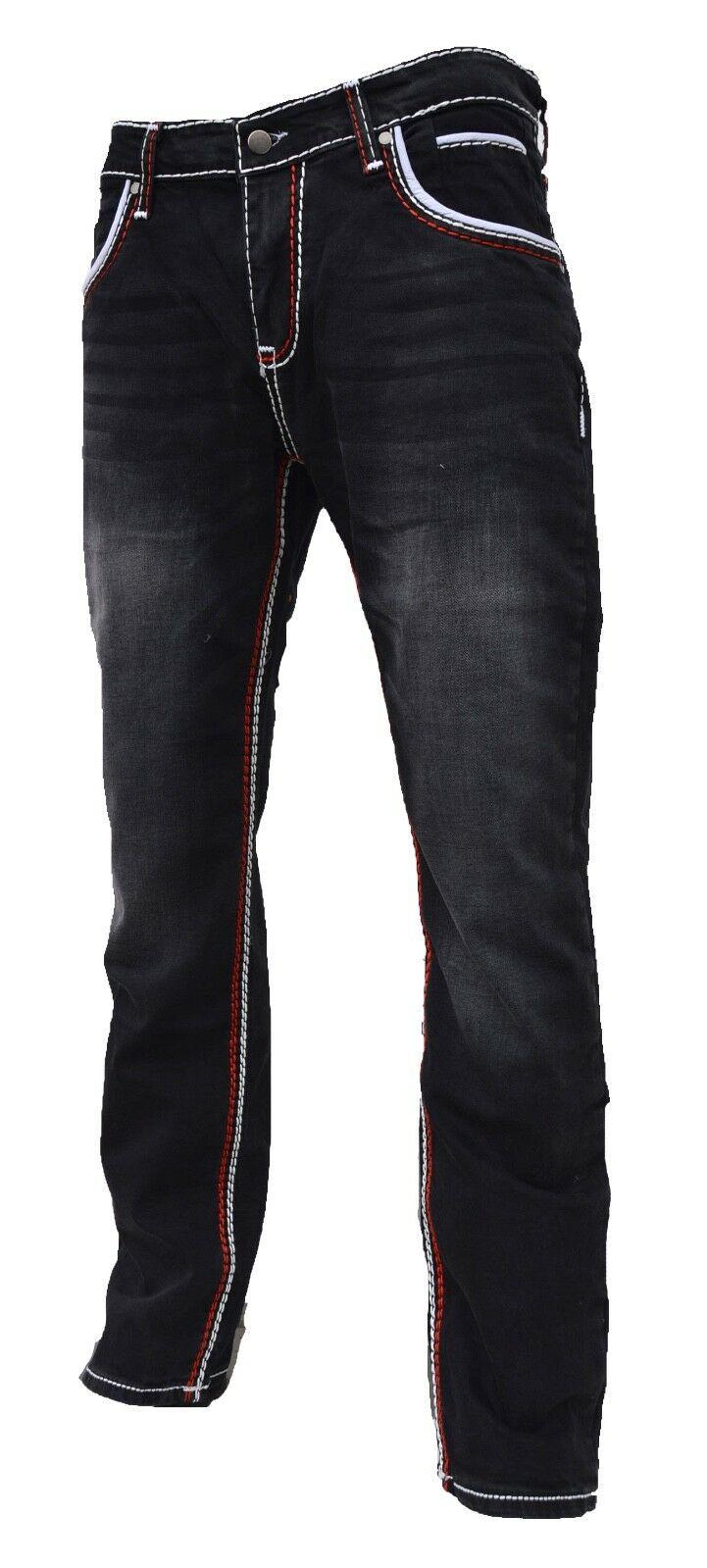 Herren-Jeans-Hose-Denim-KC-Black-Washed-Straight-Cut-Regular-Dicke-Naht-naehte Indexbild 18