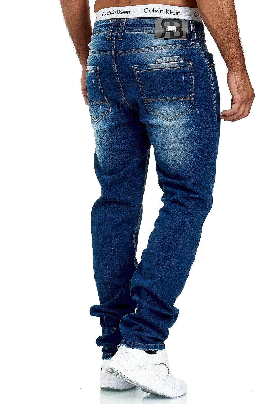 Herren-Jeans-Hose-Denim-KC-Black-Washed-Straight-Cut-Regular-Dicke-Naht-naehte Indexbild 39