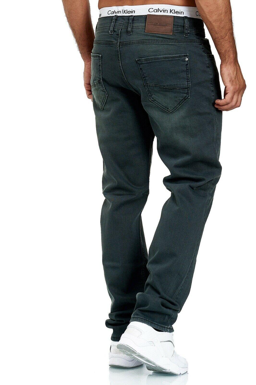Herren-Jeans-Hose-Denim-KC-Black-Washed-Straight-Cut-Regular-Dicke-Naht-naehte Indexbild 49