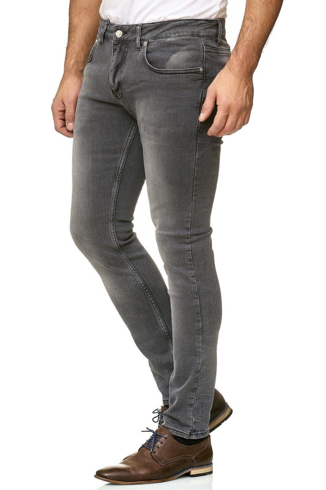 Herren-Jeanshosen-Stretch-Hose-Slim-fit-SKINNY-Jeans-Blau-Schwarz-Grau-Weiss Indexbild 33