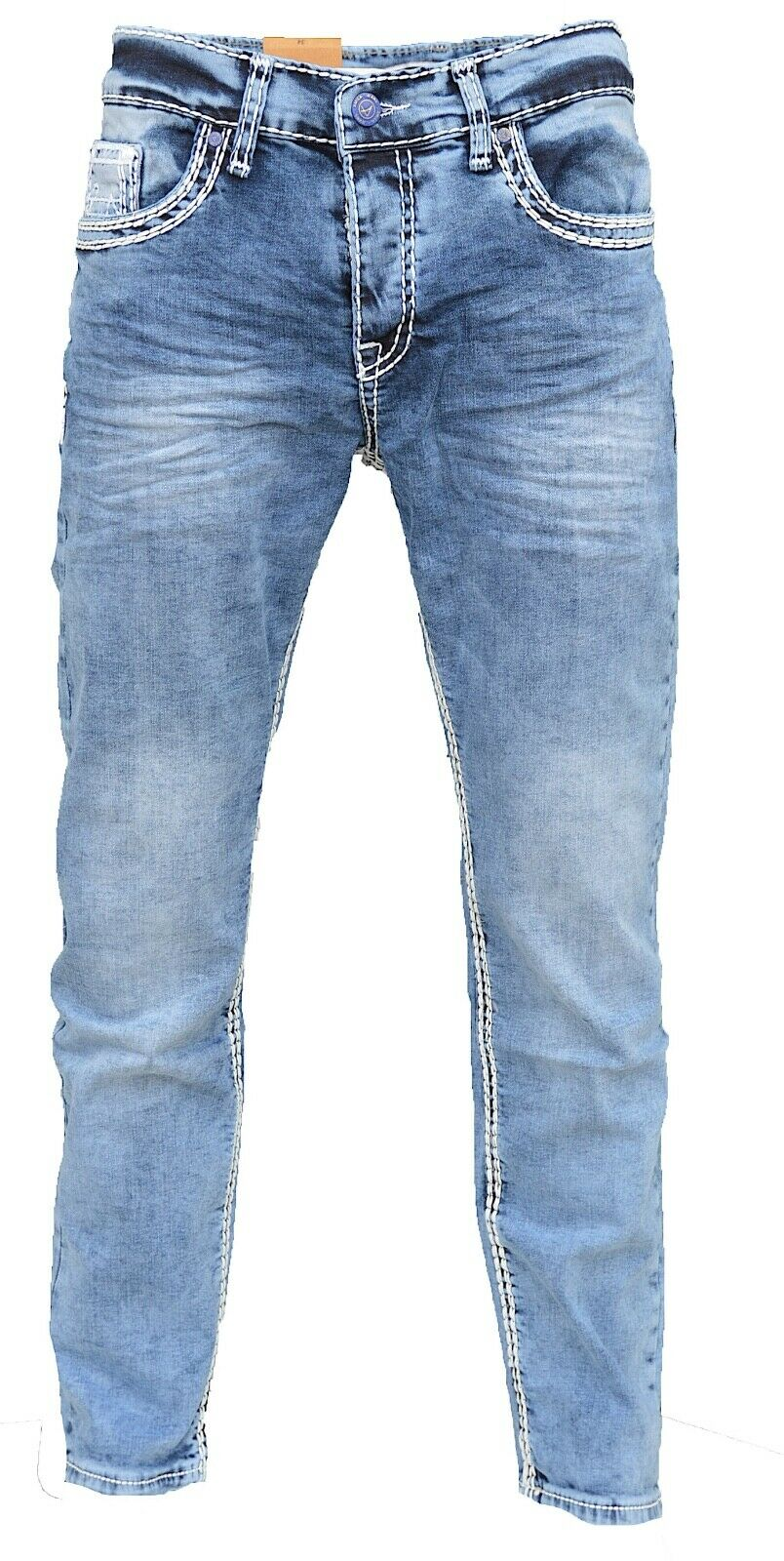 Herren-Jeans-Hose-Denim-KC-Black-Washed-Straight-Cut-Regular-Dicke-Naht-naehte Indexbild 25