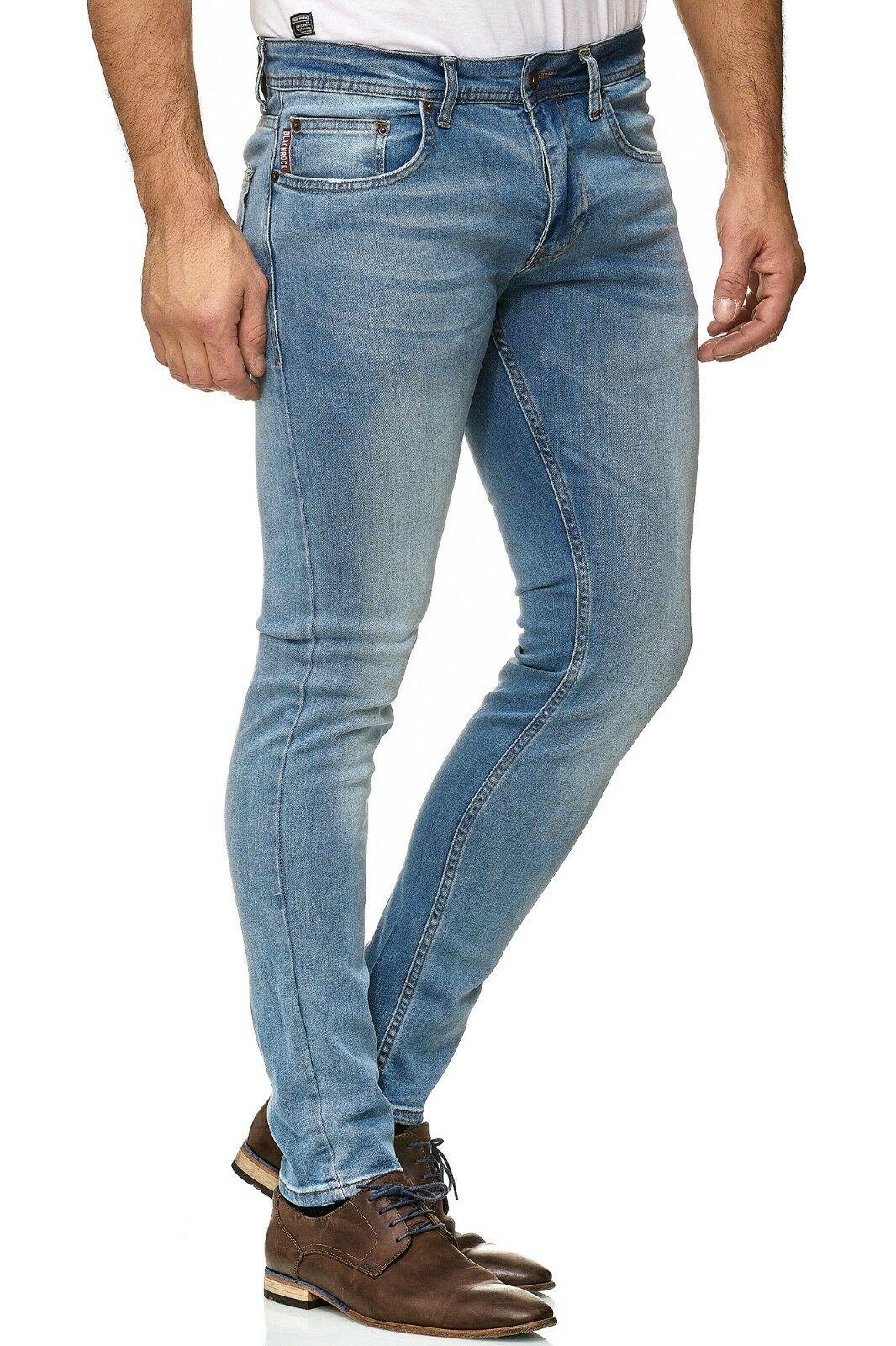 Herren-Jeanshosen-Stretch-Hose-Slim-fit-SKINNY-Jeans-Blau-Schwarz-Grau-Weiss Indexbild 46