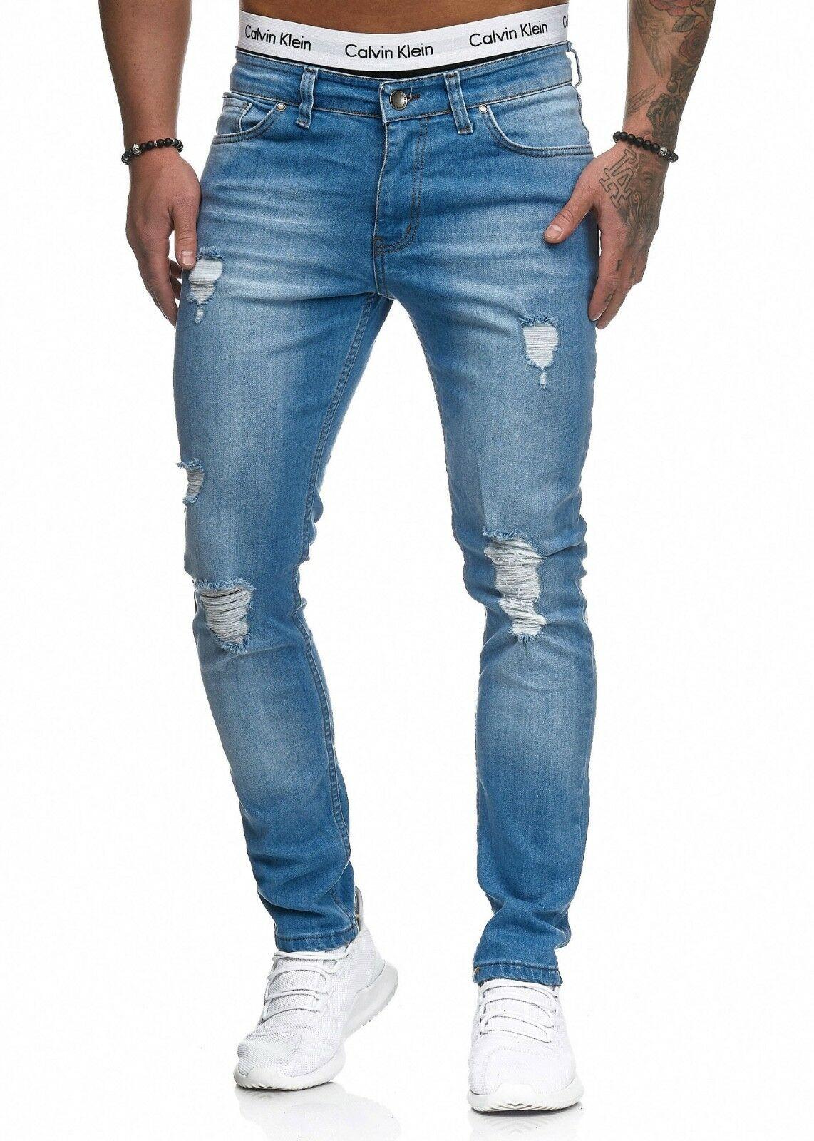 Herren-Jeanshosen-Stretch-Hose-Slim-fit-SKINNY-Jeans-Blau-Schwarz-Grau-Weiss Indexbild 23