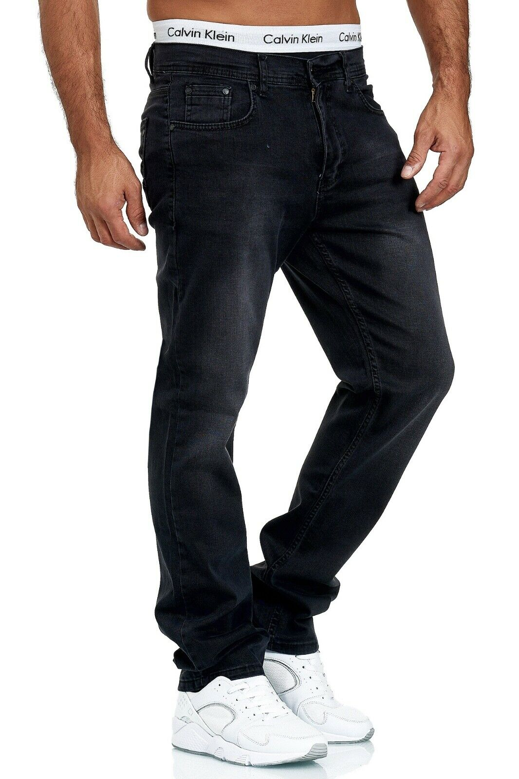Herren-Jeans-Hose-Denim-KC-Black-Washed-Straight-Cut-Regular-Dicke-Naht-naehte Indexbild 53