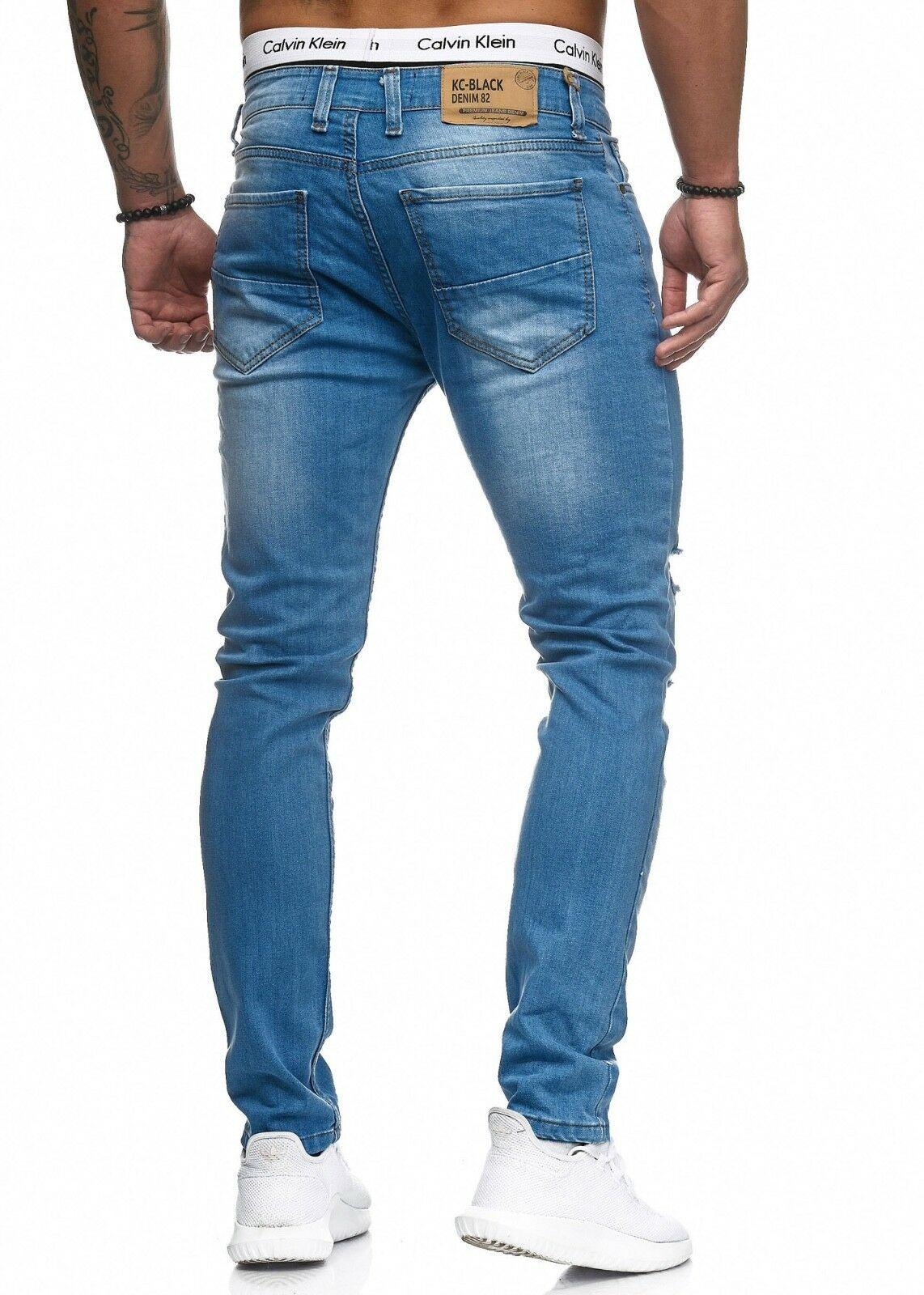 Herren-Jeanshosen-Stretch-Hose-Slim-fit-SKINNY-Jeans-Blau-Schwarz-Grau-Weiss Indexbild 24