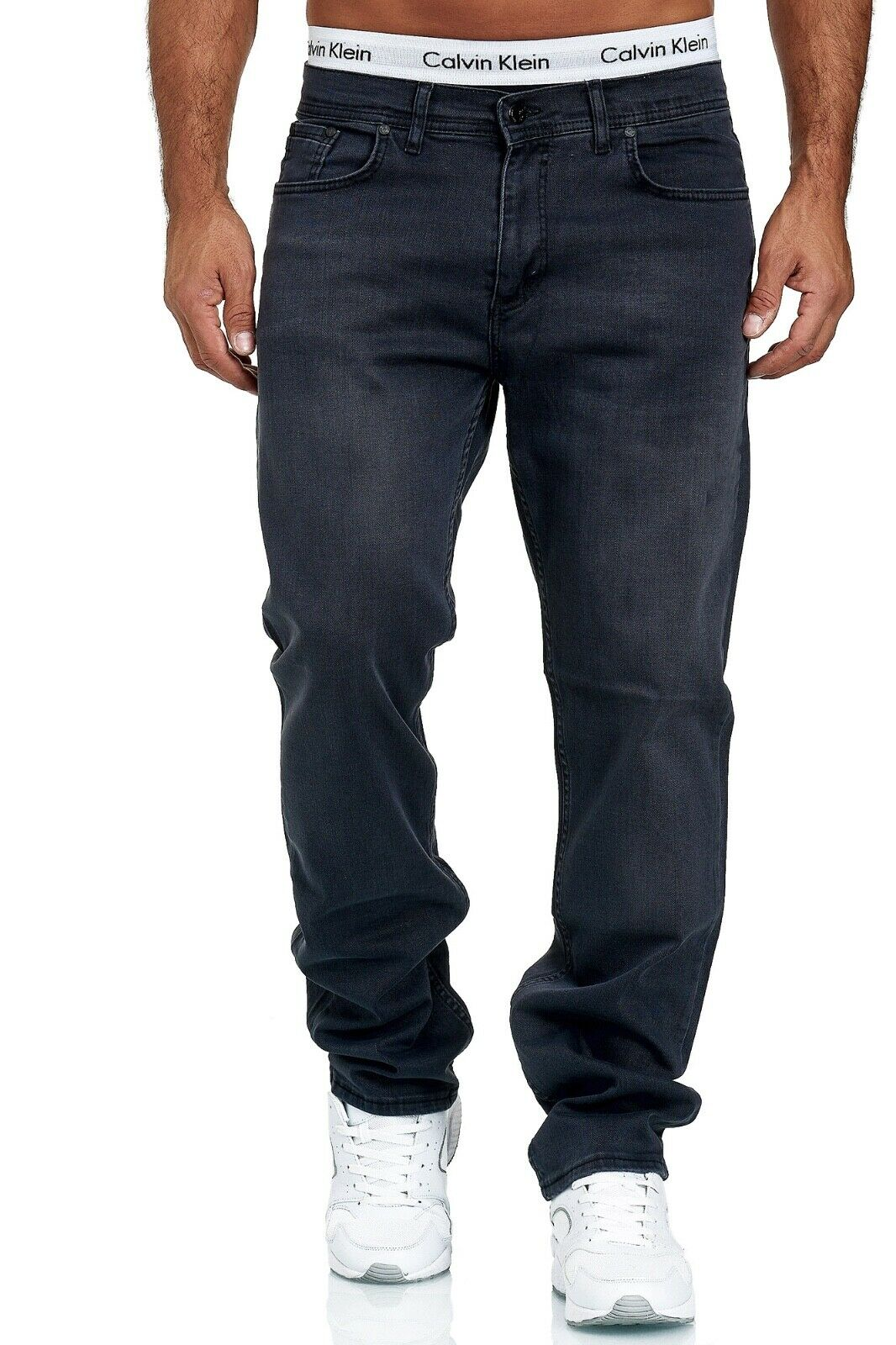 Herren-Jeans-Hose-Denim-KC-Black-Washed-Straight-Cut-Regular-Dicke-Naht-naehte Indexbild 81