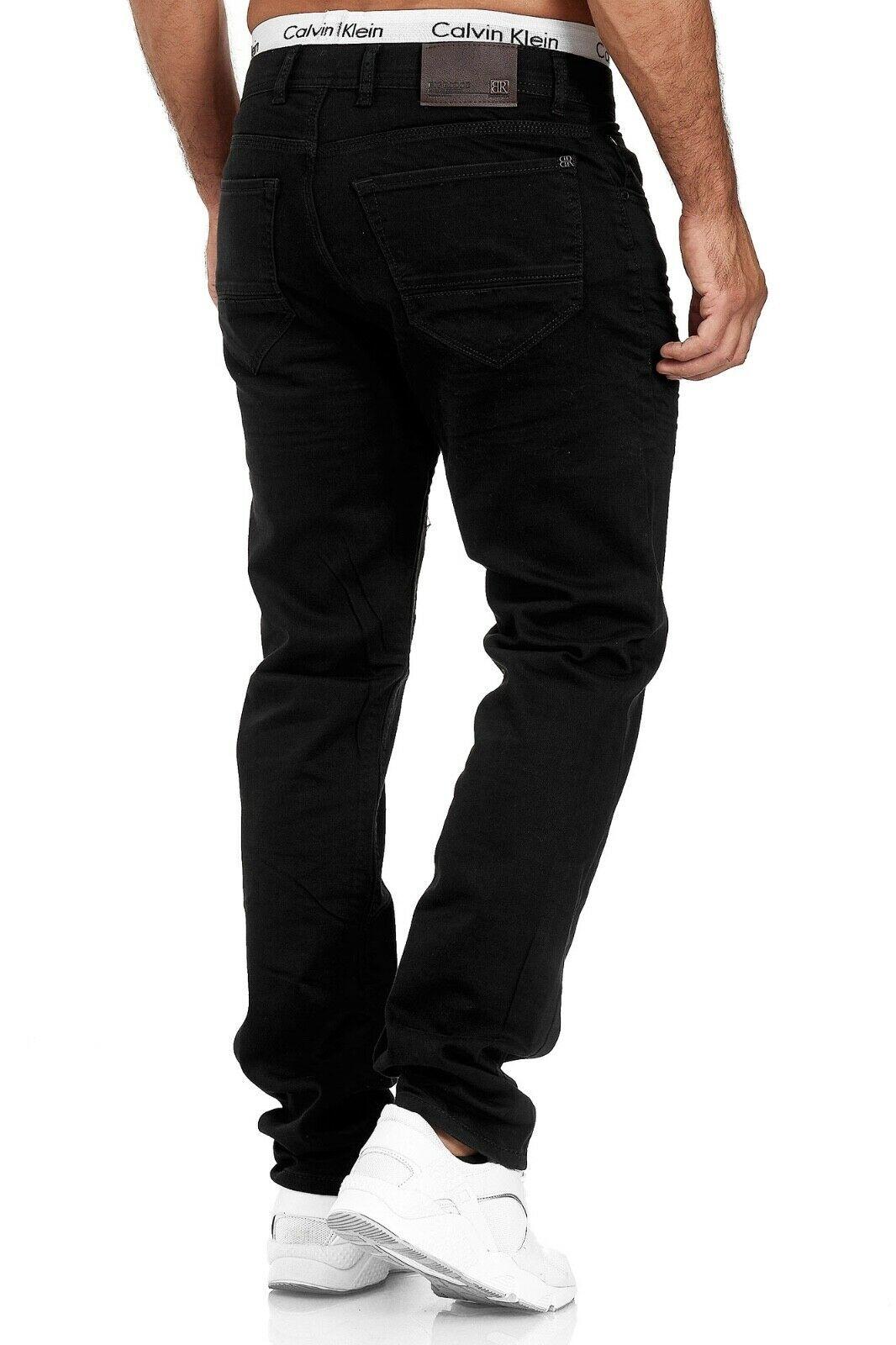 Herren-Jeans-Hose-Denim-KC-Black-Washed-Straight-Cut-Regular-Dicke-Naht-naehte Indexbild 79