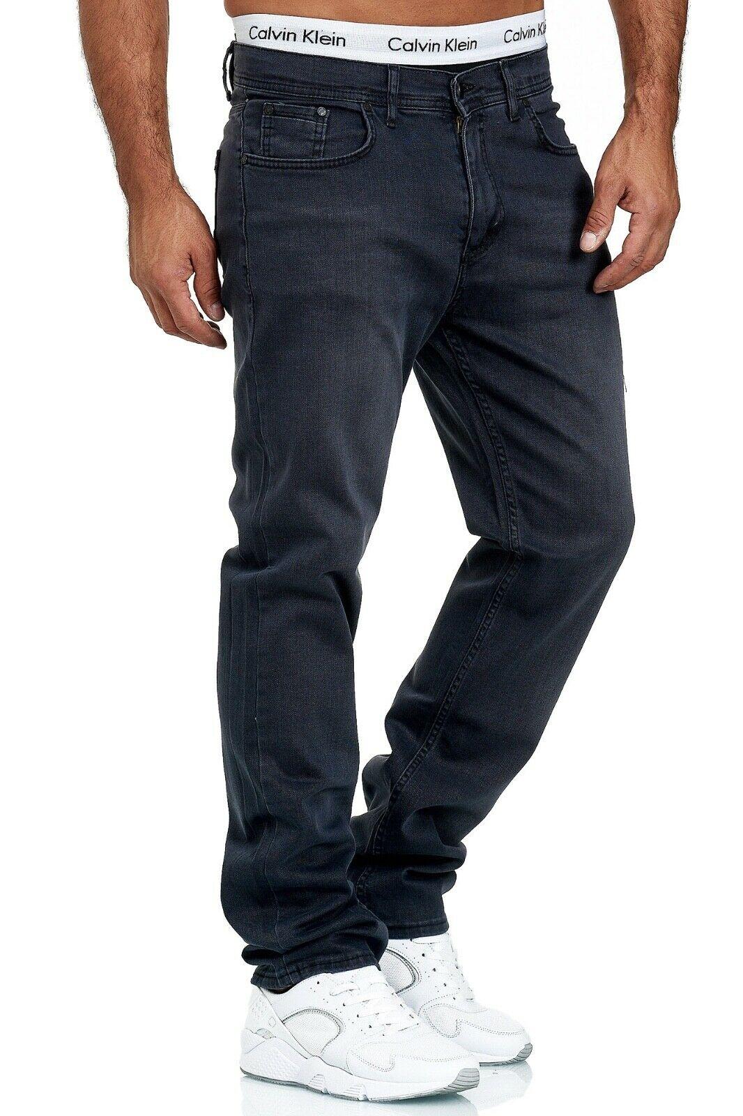 Herren-Jeans-Hose-Denim-KC-Black-Washed-Straight-Cut-Regular-Dicke-Naht-naehte Indexbild 83