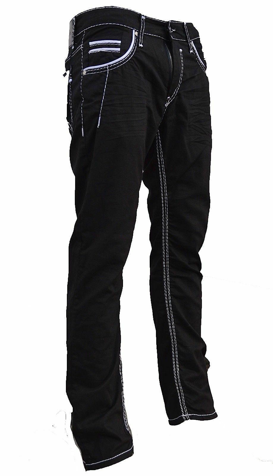 Herren-Jeans-Hose-Denim-KC-Black-Washed-Straight-Cut-Regular-Dicke-Naht-naehte Indexbild 11
