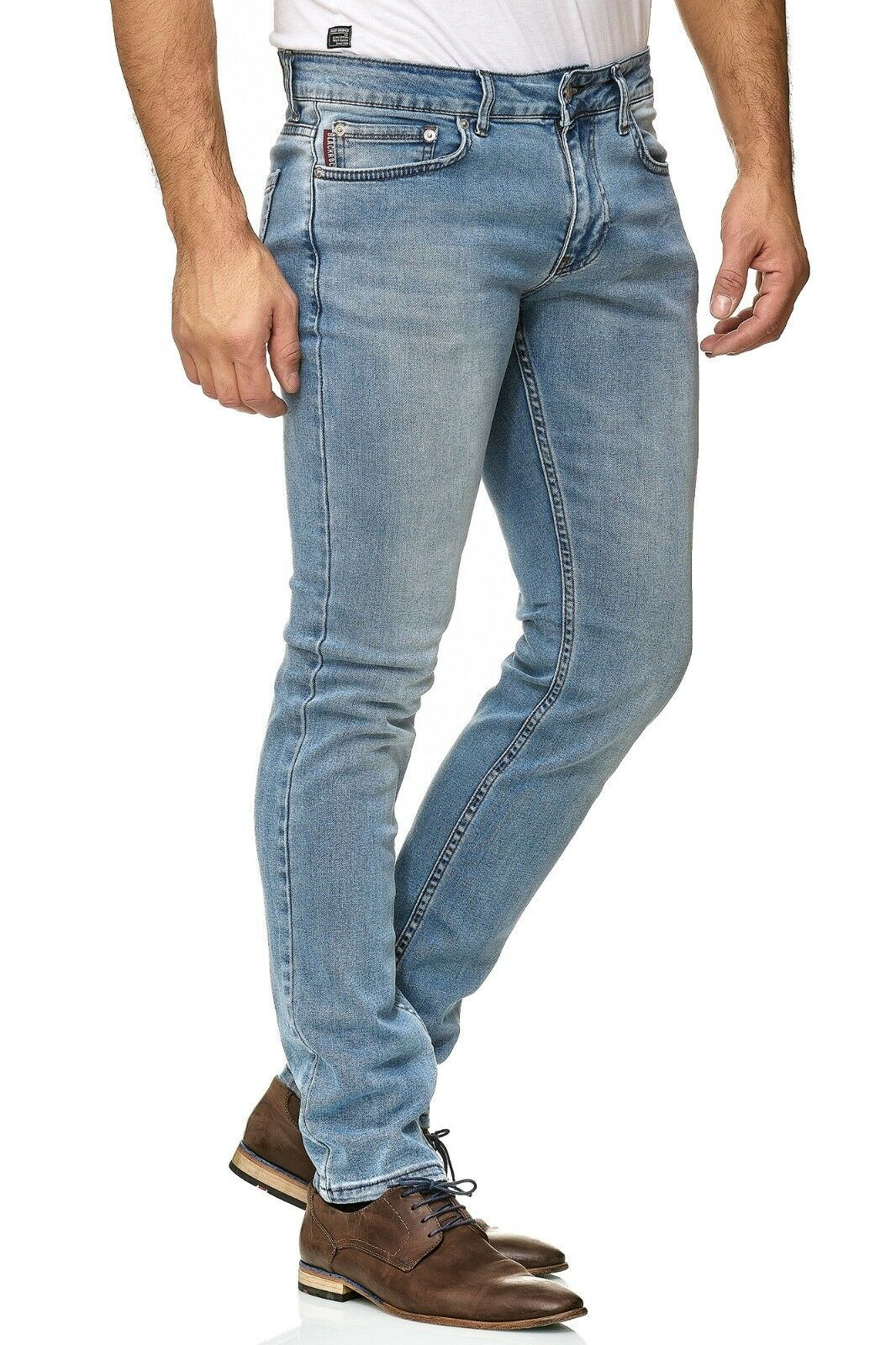 Herren-Jeanshosen-Stretch-Hose-Slim-fit-SKINNY-Jeans-Blau-Schwarz-Grau-Weiss Indexbild 38
