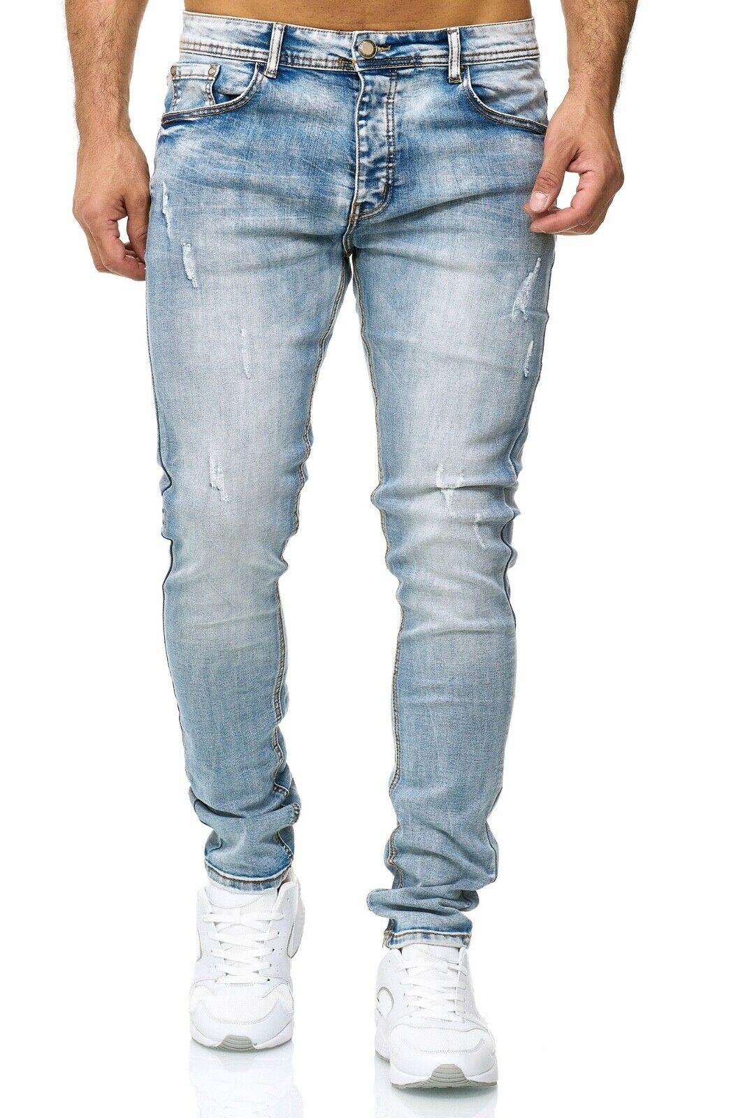 Herren-Jeanshosen-Stretch-Hose-Slim-fit-SKINNY-Jeans-Blau-Schwarz-Grau-Weiss Indexbild 60
