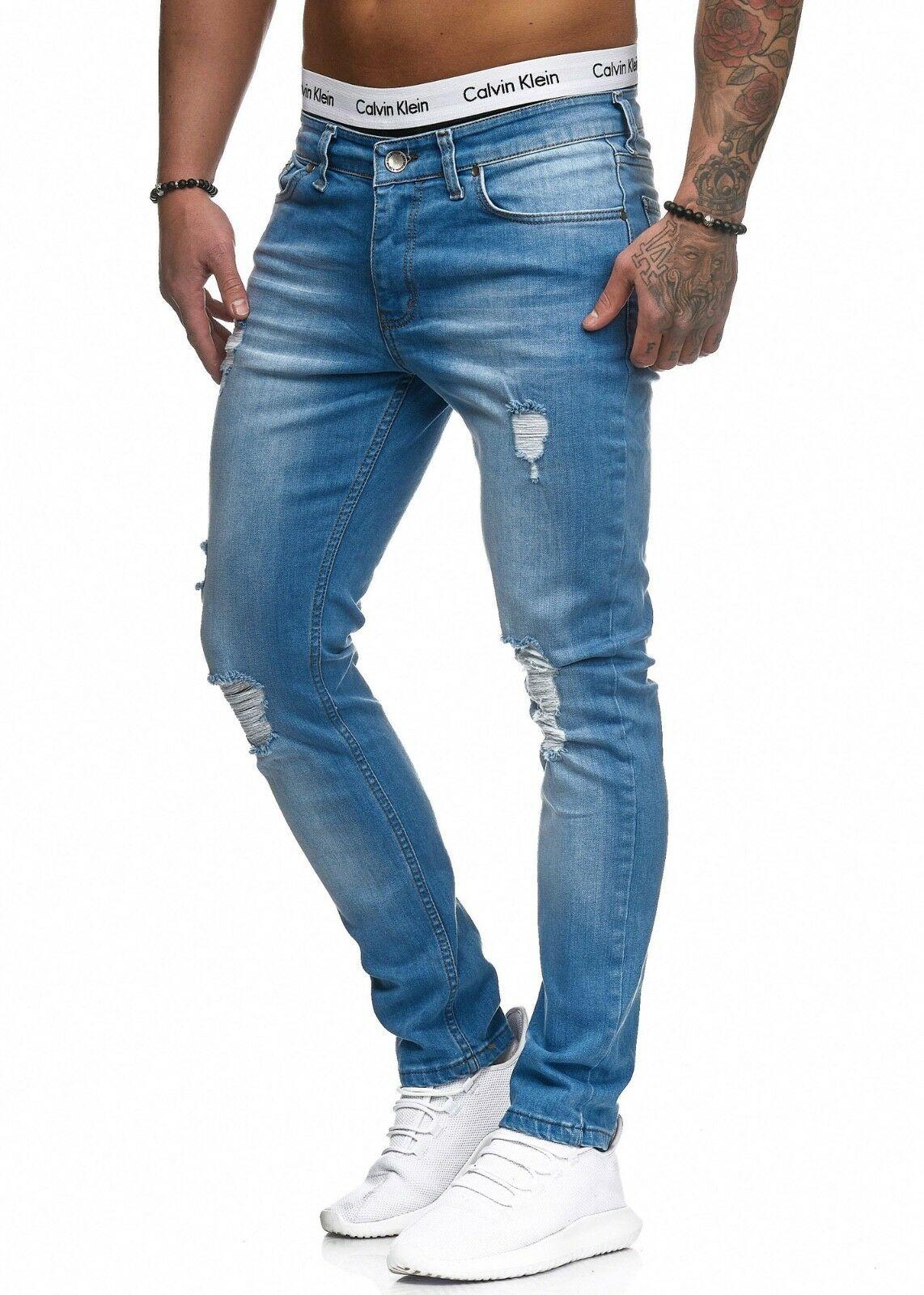 Herren-Jeanshosen-Stretch-Hose-Slim-fit-SKINNY-Jeans-Blau-Schwarz-Grau-Weiss Indexbild 25
