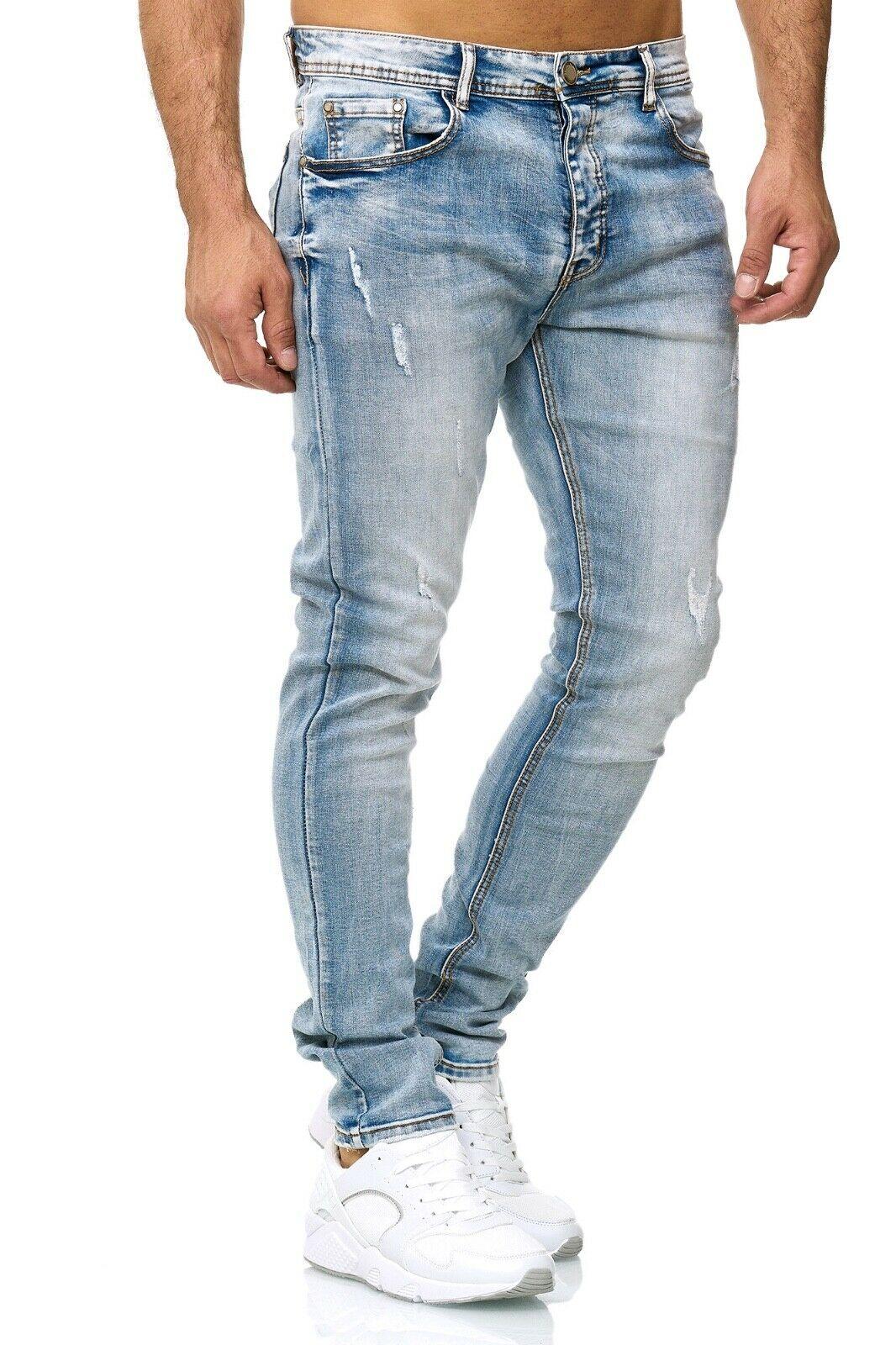 Herren-Jeanshosen-Stretch-Hose-Slim-fit-SKINNY-Jeans-Blau-Schwarz-Grau-Weiss Indexbild 62