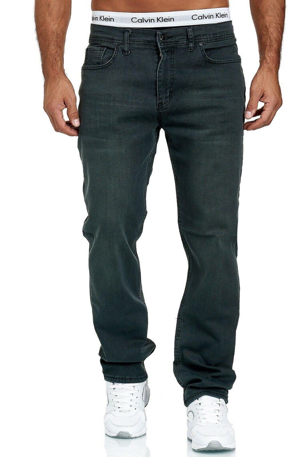 Herren-Jeans-Hose-Denim-KC-Black-Washed-Straight-Cut-Regular-Dicke-Naht-naehte Indexbild 46