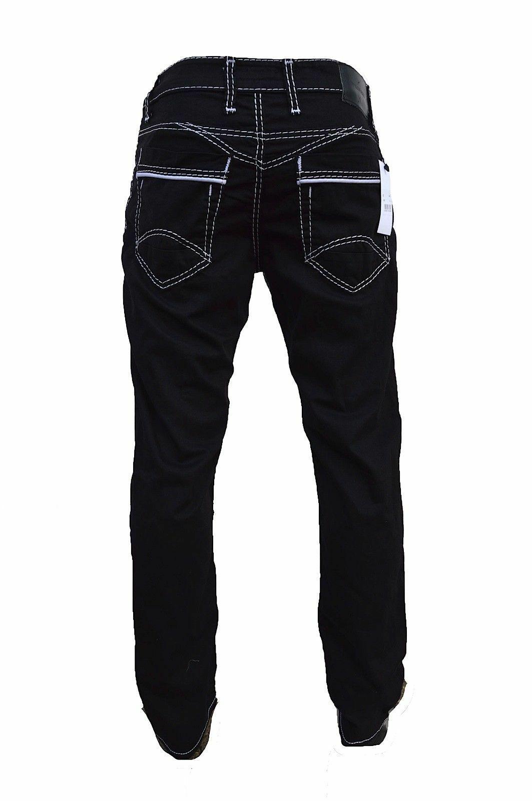 Herren-Jeans-Hose-Denim-KC-Black-Washed-Straight-Cut-Regular-Dicke-Naht-naehte Indexbild 13