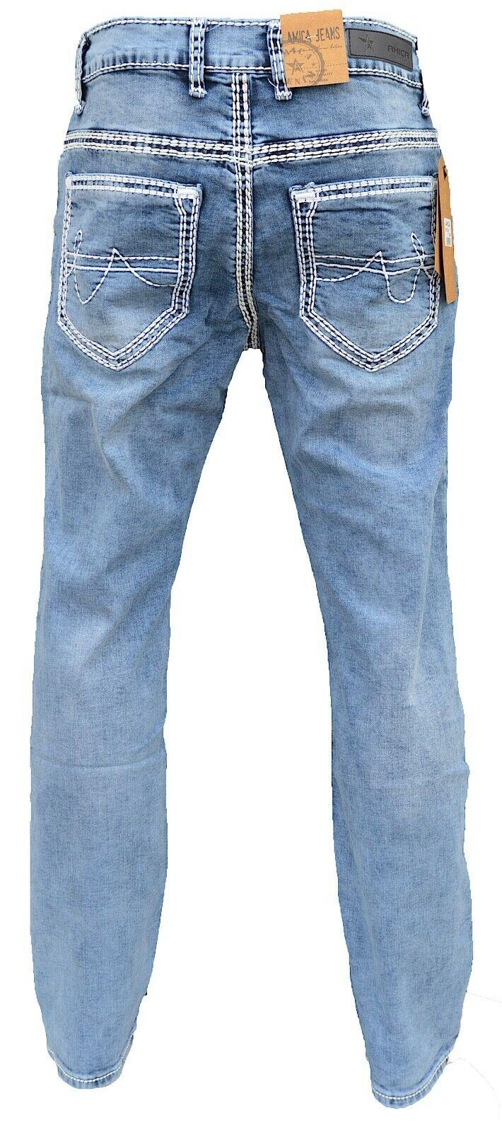 Herren-Jeans-Hose-Denim-KC-Black-Washed-Straight-Cut-Regular-Dicke-Naht-naehte Indexbild 26