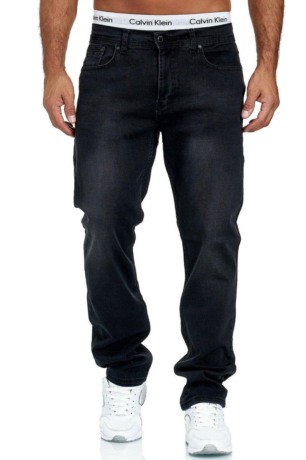 Herren-Jeans-Hose-Denim-KC-Black-Washed-Straight-Cut-Regular-Dicke-Naht-naehte Indexbild 51