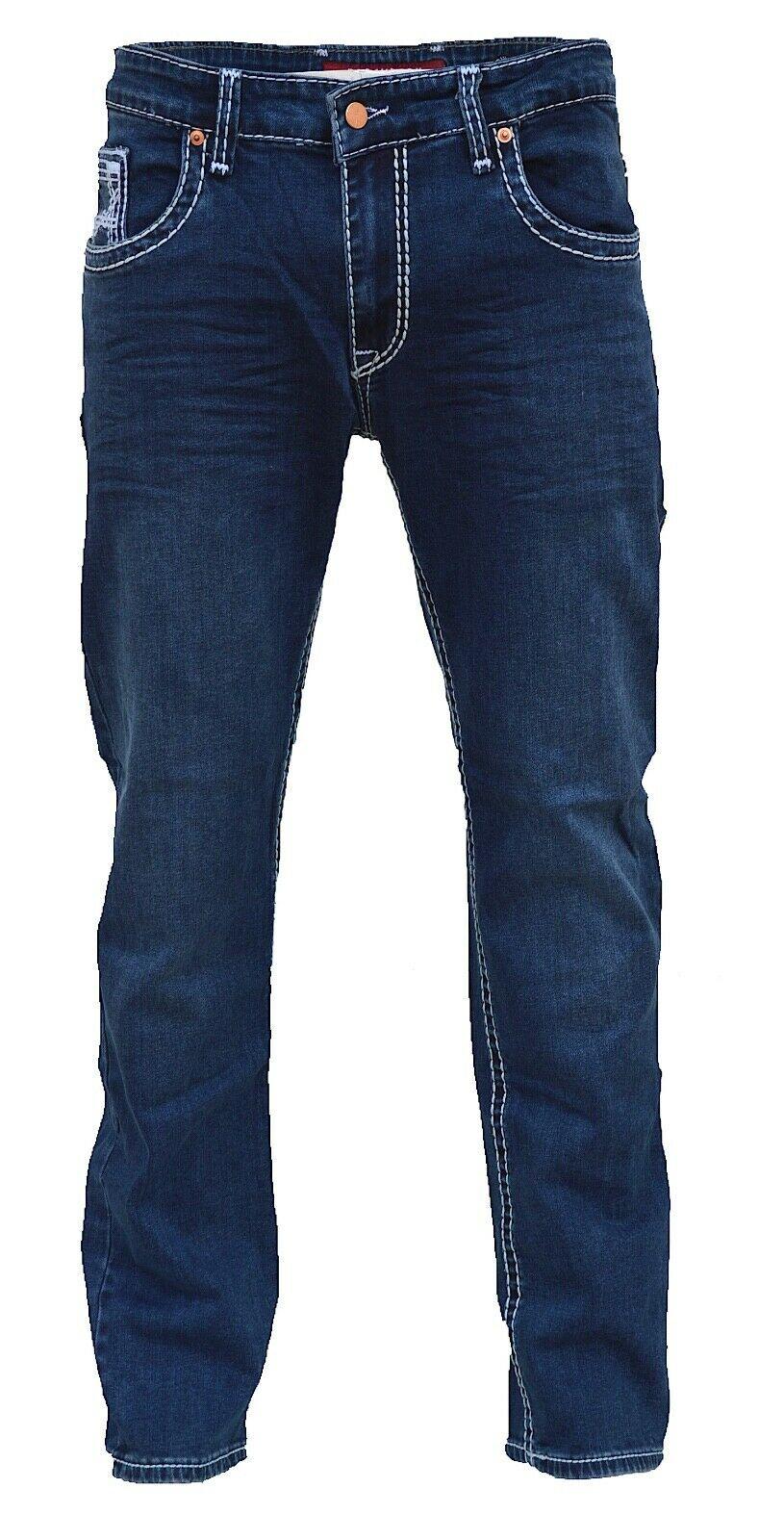 Herren-Jeans-Hose-Denim-KC-Black-Washed-Straight-Cut-Regular-Dicke-Naht-naehte Indexbild 22