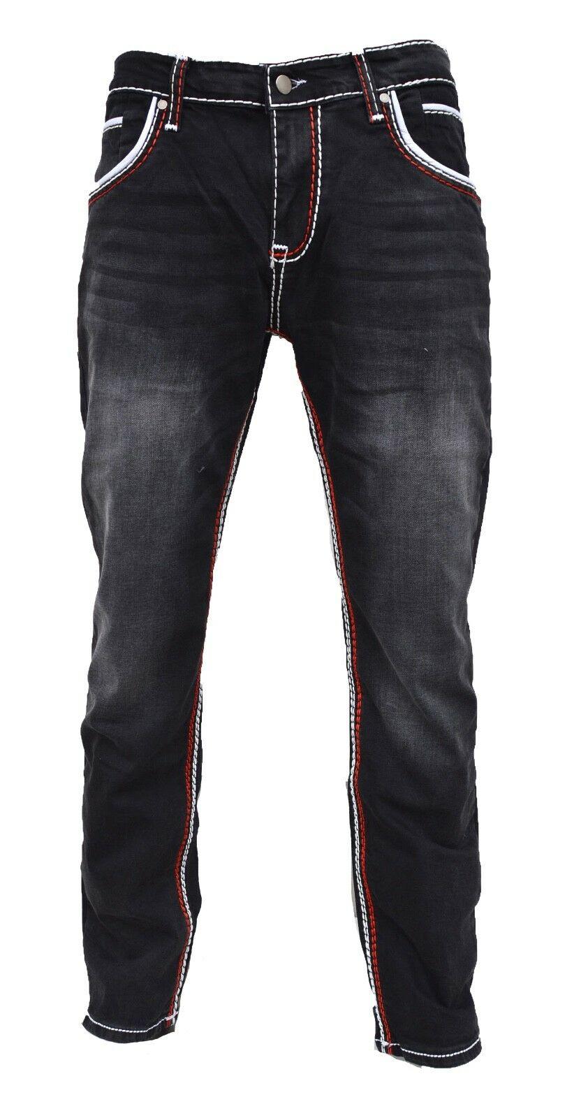 Herren-Jeans-Hose-Denim-KC-Black-Washed-Straight-Cut-Regular-Dicke-Naht-naehte Indexbild 17
