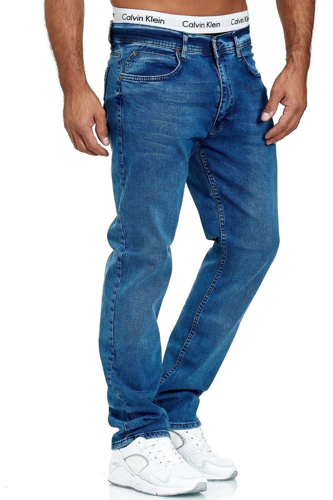 Herren-Jeans-Hose-Denim-KC-Black-Washed-Straight-Cut-Regular-Dicke-Naht-naehte Indexbild 63